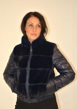 Piumino con rivestimento pelliccia visone femmina